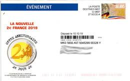 Destineo 30 Ans De La Chute Du Mur De Berlin Sur Publicité Club Français De La Monnaie - Postal Stamped Stationery