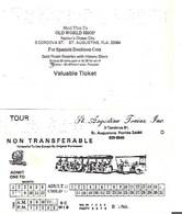 Tickets De Transports -Etats Unis- St Augustine (Floride) Trains - Chemins De Fer