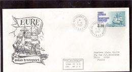 """B2 - TAAF PO129 Kerguelen Du 1.1.1987, 1ere Date. Grand Cachet Illustré """" Aviso Transport EURE """" - Lettres & Documents"""