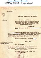 """L- """"Libération De L'Interné """" - NEXON- Cachet: Préfecture De L'Allier- Etat Français- - Documents"""