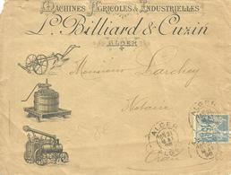 Enveloppe Publicitaire BILLARD Et CUXIN  Machines Agricoles à ALGER  - 1898 - - Pubblicitari