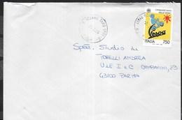 STORIA POSTALE REPUBBLICA - 1996 - VESPA LIRE 750 - ISOLATO SU BUSTA DA OZZANO TAO 02.07.1996 - 6. 1946-.. Republic