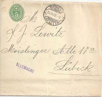 Streifband 20  Genève - Lübeck  (Rasierklingenstempel)        1908 - Interi Postali