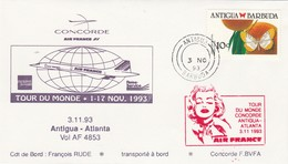 Avion CONCORDE F BVFA - Tour Du Monde 1 Au 17/11/1993 - ANTIGUA ATLANTA 3/11/1993 - Concorde