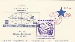 Avion CONCORDE F BVFA - Tour Du Monde 1 Au 17/11/1993 -  ATLANTA LAS VEGAS 3/11/1993 - Concorde