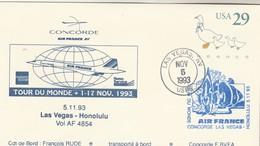 Avion CONCORDE F BVFA - Tour Du Monde 1 Au 17/11/1993 -   LAS VEGAS HONOLULU 5/11/1993 - Concorde