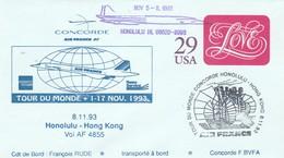 Avion CONCORDE F BVFA - Tour Du Monde 1 Au 17/11/1993 -  HONOLULU HONG KONG 5/11/1993 - Concorde