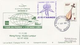 Avion CONCORDE F BVFA - Tour Du Monde 1 Au 17/11/1993 -  HONG KONG KUALA LUMPUR 11/11/1993 - Concorde