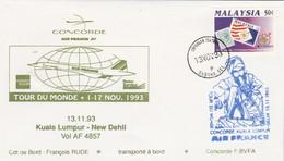 Avion CONCORDE F BVFA - Tour Du Monde 1 Au 17/11/1993 - KUALA LUMPUR NEW DEHLI 13/11/1993 - Concorde