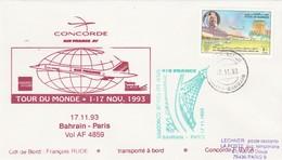 Avion CONCORDE F BVFA - Tour Du Monde 1 Au 17/11/1993 - BAHRAIN PARIS 17/11/1993 - Concorde