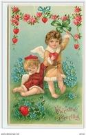 N°4040 - Carte Gaufrée - Valentine Greetings - Angelots Dont Un Assoupi - Valentijnsdag