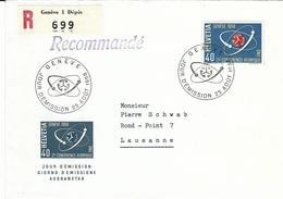 338, Conférence Atomique, Symbole Fusion Nucléaire, Obl. Genève 25 Août 1958, Maximum, Recommandé - Suisse