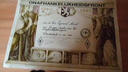 Diploma  Van Het Onafhankelijksheidfront 1940-1945 (Eggermont M.) - Geraardsbergen - Obj. 'Souvenir De'