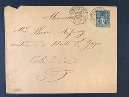 Lettre Marque Origine Rurale Facteur Cachet Nuits Saint Georges Côte D'Or 1894 Timbre Type Sage - Marcophilie (Lettres)