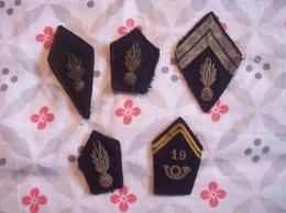 LOT DE  5 ECUSSONS   Militaire Brodés En Fil De Métal - Ecussons Tissu