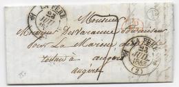 AISNE - 1843 - LETTRE De LA BOVETTE COMMUNE De FOURDRAIN Avec BOITE RURALE T2 ! + T 12 De LA FERE - Marcophilie (Lettres)