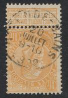 "Fine Barbe - N°65 Obl Simple Cercle ""Ostende-Bains""                (N.L.) - 1893-1900 Schmaler Bart"