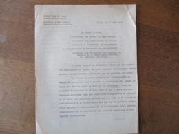 LILLE LE 21 AOÛT 1941 LE PREFET DU NORD F. CARLES  NOTE SUR LE RAVITAILLEMENT GENERAL - Historische Documenten