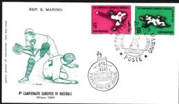 San Marino FDC 1964 Baseball European Championship Milano (G97-1) - Baseball