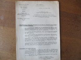 ETAT FRANCAIS LILLE LE 4 JUIN 1942 LE PREFET DELEGHE DARROUY CIRCULAIRE REGIME DES CARTES PROVISOIRES DE VÊTEMENTS ET D' - Historische Dokumente