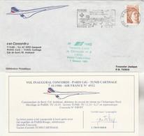 Avion CONCORDE F - BVFC - Vol Inaugural  PARIS TUNIS Carthage 7/10/1980 - Avec Certificat - Concorde