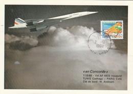 Avion CONCORDE F - BVFC - Vol Inaugural  PARIS TUNIS Carthage 7/10/1980 Sur Carte Postale - Concorde