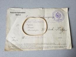 Document Originale Occupation Allemande Charleroi Kaiserliche Kommandantur 1915 - Ansichtskarten