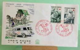 Croix Rouge Et La Poste (n°585)- 42 Saint Étienne - 10.12.1966 -FDC 1er Jour Coté 3€ - 1960-1969