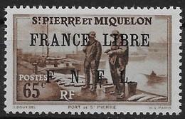 1941-42 Saint Pierre Et Miquelon N° 259  MNH . Surcharge France Libre F.N.F.L. Port De St Pierre - Neufs