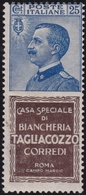 Italia Regno - Pubblicitari - 149 ** 1924-25 - 25 C. Tagliacozzo N. 8. Cat. € 3000,00. Cert. E. Diena. SPL - 1900-44 Vittorio Emanuele III
