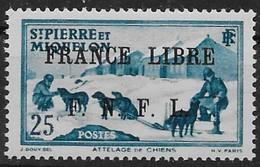 1941-42 Saint Pierre Et Miquelon N° 253  MNH . Surcharge France Libre F.N.F.L. Attelage . - St.Pierre Et Miquelon