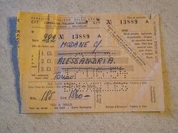 Ferrovie Italiane Dello Stat, CIT, Bruxelles , Billet Modane/ Alessandria, 1954 - Chemins De Fer