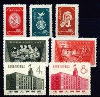 A6534) PR China 1958 Mi.143-145, 259-260, 400-401 Unused MNH - Neufs