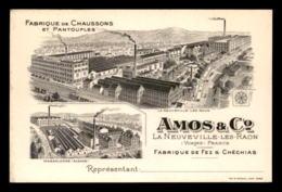 CARTES DE VISITE - LA NEUVEVILLE-LES-RAON (VOSGES) - FABRIQUE DE CHAUSSONS AMOS &CIE - Cartes De Visite
