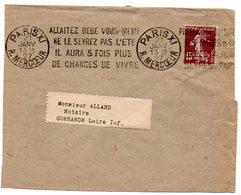 PARIS XI RUE MERCOEUR 1927 = FLAMME KRAG SUPERBE ' ALLAITEZ BEBE / NE LE SEVREZ PAS ' - Annullamenti Meccanici (pubblicitari)