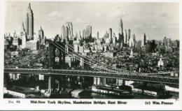 UNITED STATES - Mid-New Yoork Skylines Manhattan Bridge East River - RPPC - Manhattan