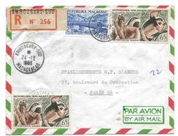 Madagascar Lettre Recommandée Avion Amboasary-sud 1963 Lémuriens Pont - Madagascar (1889-1960)