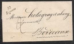 1847 LSC 32 BIGANOS Cursive (GIRONDE)  A BORDEAUX - Poststempel (Briefe)