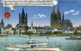 GERMANY  Koln A Rhine Panorama With Ship Etc 1919 - Koeln