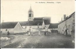 D18 - PRIMELLES - L'EGLISE - EN BERRY - Femmes Et Enfants -Pub Sur Les Murs : Elixir Combier - Brillant Belge - Autres Communes