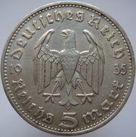LaZooRo: Germany 5 Mark 1935 D XF Hindenburg - Silver - [ 4] 1933-1945: Drittes Reich
