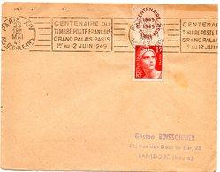 PARIS XIV / AVENUE D' ORLEANS 1949 = FLAMME RBV  ' CENTENAIRE DU / TIMBRE-POSTE FRANCAIS / GRAND PALAIS ' + N° 832 - Marcophilie (Lettres)