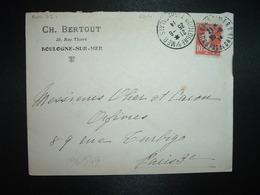 LETTRE TP SEMEUSE 10c OBL. (DAGUIN?) 25-6 14 BOULOGNE S/MER PAS DE CALAIS (62) CH BERTOUT - Storia Postale