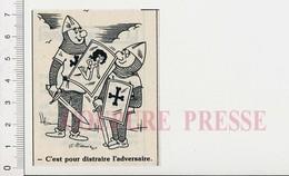 Humour Héraldique Blason Pin-up Sur Bouclier Soldat Moyen-âge épée 198PF44 - Vieux Papiers