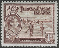 Turks & Caicos Islands. 1938-45 KGVI. 1d MH. SG 196 - Turks And Caicos