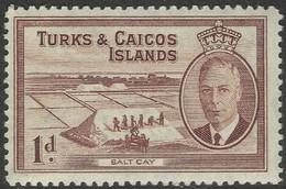 Turks & Caicos Islands. 1950 KGVI. 1d MH. SG 222 - Turks And Caicos