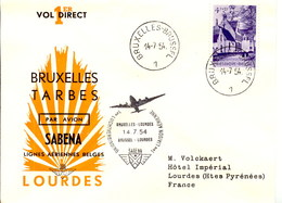Aérophilatélie-1ère Liaison Aérienne BRUXELLES-LOURDES Par Avion Sabena-cachet De Bruxelles Du 14.07.54 - Airmail