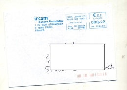 Lettre Flamme Ema Paris Ircam Pompidou - Storia Postale