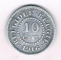 10 CENTIMES 1916 BELGIE /891/ - 1909-1934: Albert I.