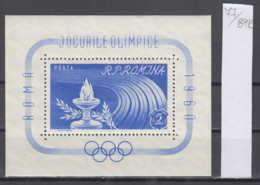 89K77 / 1960 - Michel Nr. Block 46 ( ** ) Rome Summer Olympics , Romania Rumanien - Blocchi & Foglietti
